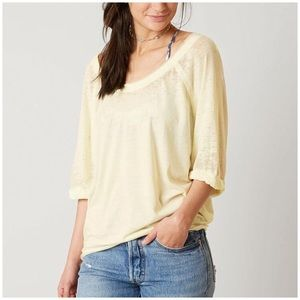 Free People moonlight top yellow burnout tee
